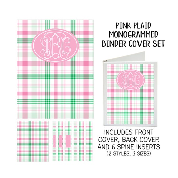 Pink Plaid Printable Binder Cover Set with Front & Back Covers and Spine inserts - Personalized- Dress up Your Three Ring Binder!
