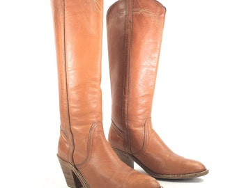 Size 7.5 B - Frye Women's Vintage Knee High Tall Western Riding Boots Stacked Heels
