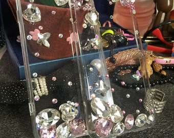 New Bling Assorted Pink Clear Sparkles Charms Glossy Gems Crystals Rhinestones Diamonds Fashion New Lovely Hard Cover Case for Mobile Phone