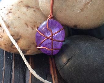 Polished Violet Rainbow Quartz crystal necklace