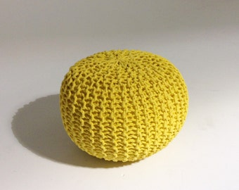 Handmade Knitted Pouf | Vibrant Yellow | 50x35cm | Hand Knit Pouf Ottoman Footstool
