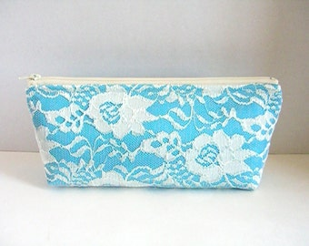 Satin And Lace Clutch - Bridesmaid Makeup Bag - Wedding Clutch - Turquoise Clutch - Bridesmaid Clutch - Bridal Clutch - Bridesmaid Gift