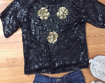 Black and Gold Sequin Flower top/Boho/Size M