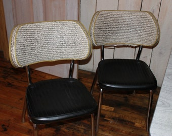 SOLD!!! 1950's Chrome and Formica Table with 6 Leather and Fabric Chairs