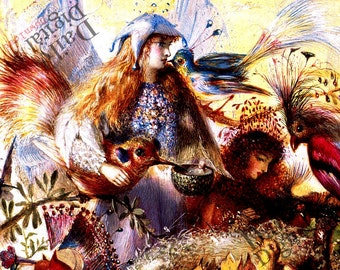 Fairies Fedding The Birds 1800's Painting Vintage Fairy Art Digital Download DIY Prints Wall Art Home Decor add to Fairy Collection
