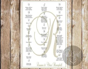 Seating Chart, Custom, Wedding, Baby Shower, Birthday, DIY, downloadble, digital