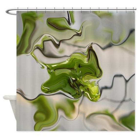 Abstract Shower Curtain Olive Green Grey Shower Curtain