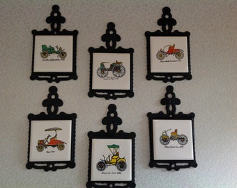 Vintage Antique Car Cast Iron Tile Trivets -set of 6