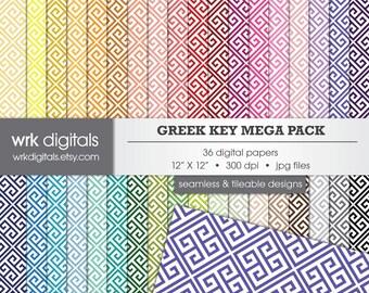 Greek Key Mega Pack Seamless Digital Paper Pack, Digital Scrapbooking, Instant Download, Geometric Patterned Paper