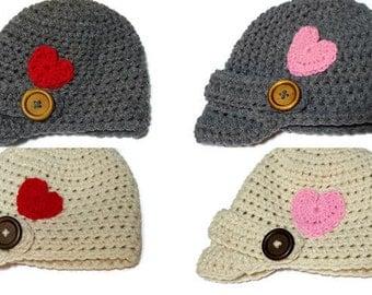 Valentine Hat, Baby Valentine Hat, Adult Valentine Hat, Newsboy Hat, Crochet Valentine, Winter Hat, Baby First Valentine, Boy Hat, Girl Hat