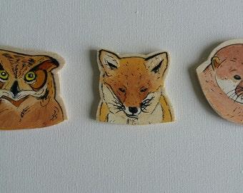 Woodland Animal Magnets, Fox Magnet, Owl Magnet, Otter Magnet, Handmade Magnets, Wooden Magnets