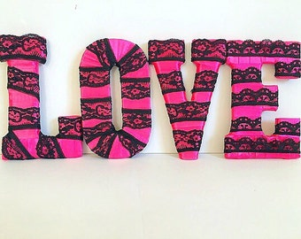 Hot Pink Decor, Hot Pink and Black, Letters for Wall, Decorative Letters, LOVE Home Decor, Gift for Her, Decorated Letters ,Home Decor