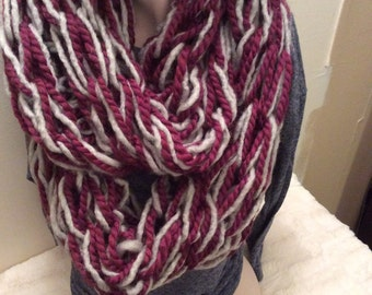 Dark pink and light gray arm knit infinity scarf