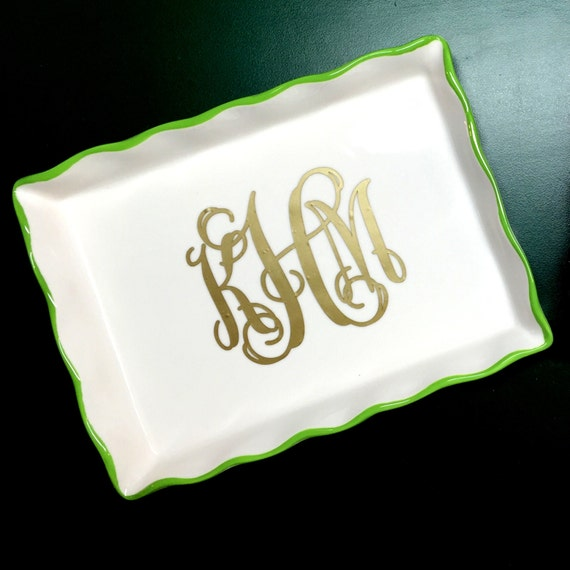 Monogrammed Ring Dish Jewelry Tray Personalized by MJMonograms