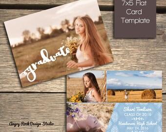 INSTANT DOWNLOAD - Floral Background Graduation Announcement - Photoshop Template- S114