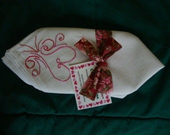 Pair of Hand-embroidered Heart Cloth Napkins