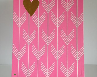 "Hand-painted arrow ""wallpaper"" like art for nursery or kid's room-acrylic on 11x14 canvas."