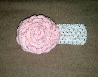 Pink Crochet Flower Headband