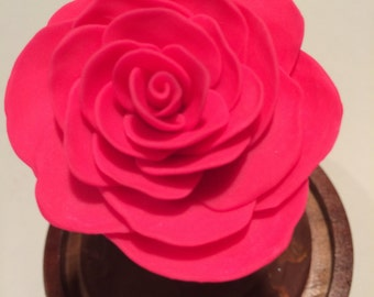 Bright Pink Rose, Beauty and the Beast Rose, Beauty and the Beast wedding, Glow in the dark, Rose in Glass, Disney, pink rose