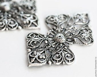 1028_Jewelry component 7x4.3 sm, Metal findings, Silver component,Silver findings,Jewelry component ornament,Silver connector,Filigree_2 pcs