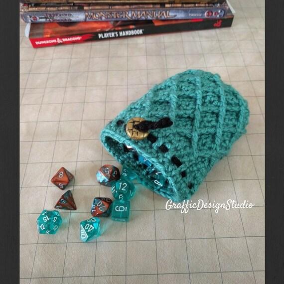 Dragon Egg Dice Bag Crochet Pattern : Dragon Egg Drawstring Dice Bag Aquamarine by ...