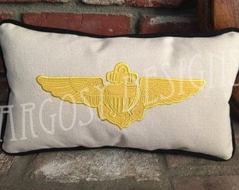 """Handmade US Navy Pilot Wings 9""""x16"""" Small Lumbar Pillow Christmas Gift Winging Gift Personalized Naval Aviation"""