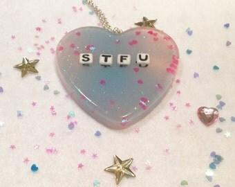 STFU Heart Pendant Necklace
