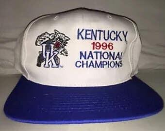 Vintage Kentucky Wildcats National Champions 1996 Snapback hat cap rare 90s NCAA basketball final four deadstock
