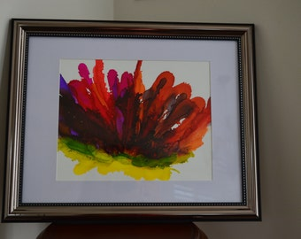 Purple Red Hibiscus Flower Abstract Alcohol Ink Original On Yupo Paper