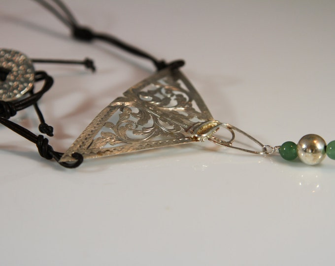 Silver filigree triangle leather necklace