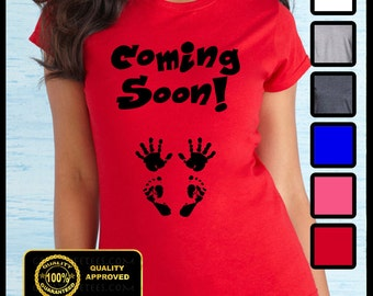 Coming Soon Tshirt - Due in January February March April May June July August September October - Tops and Tees Maternity Baby Shower Tshirt