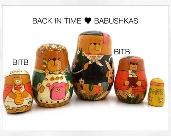 Spring Bears Nesting Dolls, French Bear Nesting Doll, Sailor Nesting Doll. Goldilocks Bear Family with Honey. Matryoshka Forest Animals.