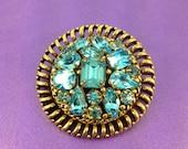 1960s Glass Brooch Barclay Brooch Turquoise Glass Gems Designer Brooch Vintage Wedding Bridal Something Blue