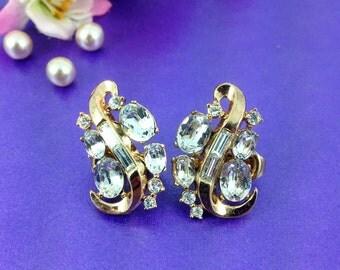 Vintage Crown Trifari Earrings, Rhinestone Earrings, Sterling with Vermeil Coating, Vintage Wedding, Bridal