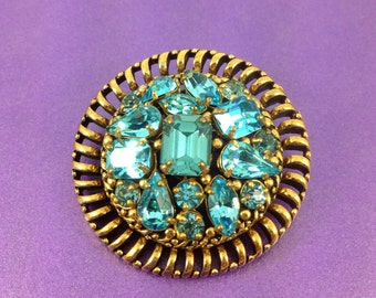 1960's Glass Brooch, Barclay Brooch, Turquoise Glass Gems, Designer Brooch, Vintage Wedding, Bridal, 'Something Blue'