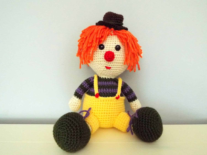 Crochet clown Doll Amigurumi Kids toys Circus Gifts ideas Home