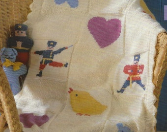 Baby Blanket  Cushion & Toy Teddy, and toy soldier dk knitting pattern 99p pdf
