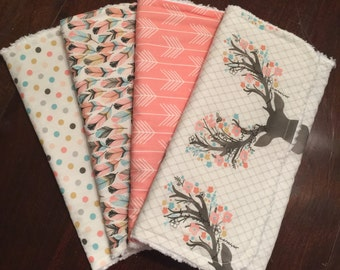 Antler, feather, and arrow burp cloths / Arrow theme nursery / Feather theme nursery / Deer theme nursery / Pink and teal burp cloths