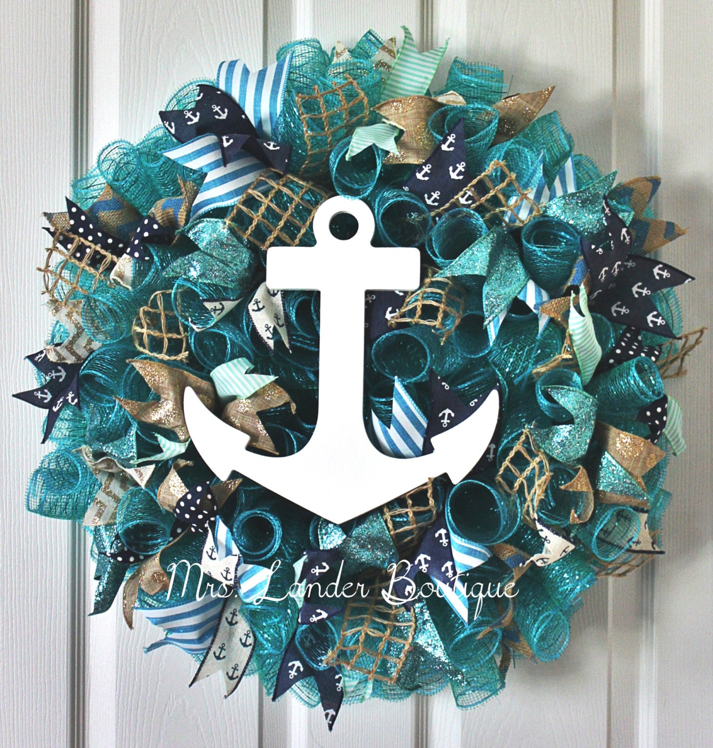 The Deco Haus Tagged Blue: Teal And Navy Blue Nautical Wreath Anchor Wreath Beach