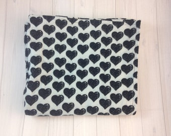 Extra Large Black Heart and Grey Emo Goth Love Inspired Flannel Receiving Blanket - Swaddling Blanket - Crib Bedding - Ready To Ship