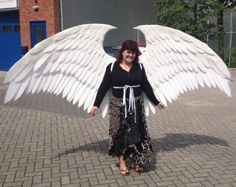 Large White Angel Cosplay Wings. Eco & animal friendly. Adult Fairy Custom-made white costume wings.