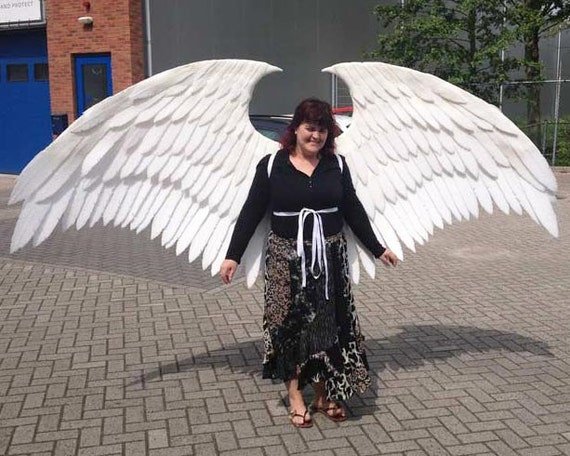 Large White Angel Cosplay Wings. Eco & animal friendly. Adult