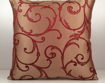 Gold-ish Tan Pillow, Throw Pillow Cover, Decorative Pillow Cover, Cushion Cover, Pillowcase, Toss Pillow, Satin Blend, Red Patterned Pillow