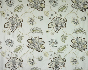 DESIGNER FLORAL VINES Embroidered Silk Fabric 10 Yards Earth