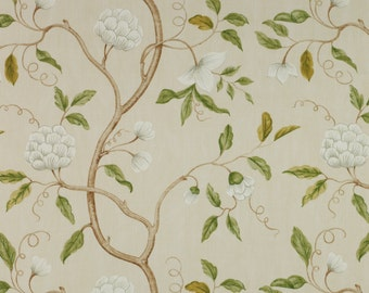COLEFAX & FOWLER CHINOISERIE Japanese Snow Tree Floral Linen Fabric 10 Yards Cream Oyster Green Amber