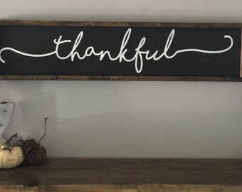 Thankful|Wood Sign