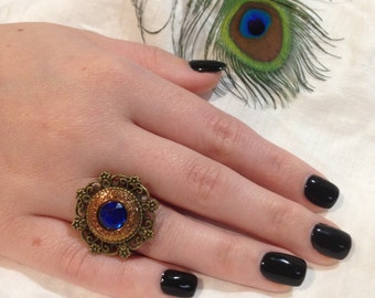 Deep Blue Jewelled Vintage Button Ring