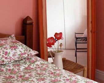Pink Rose Pillowcases Hand Block Printed on Organic Cotton