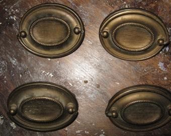 Four Vintage Aged Brass Heppelwhite Drawer Pulls