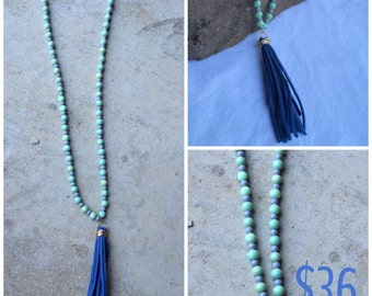 Blue & minty beaded necklace
